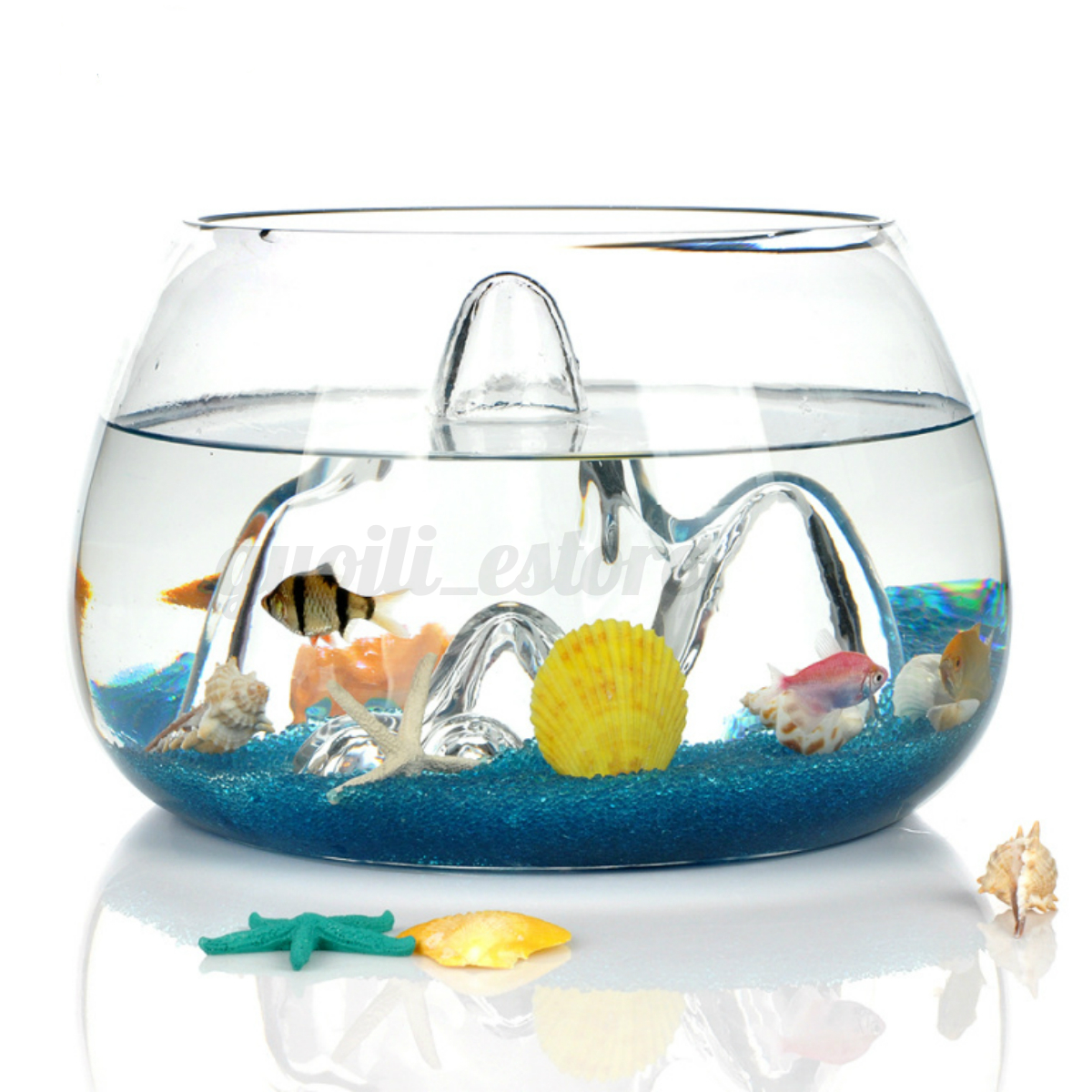 Clear glass fish tank betta goldfish aquarium bowl home for Aquarium decoration for goldfish