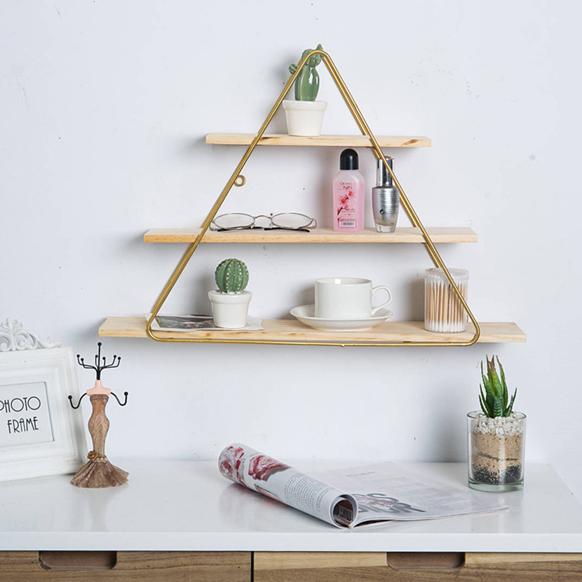 Wooden Wall Mount Shelf Office