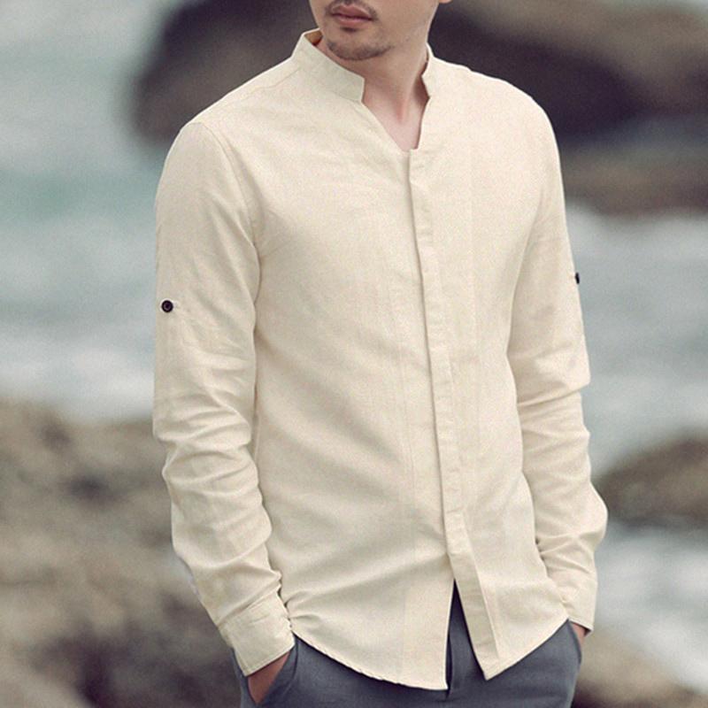Mens Cotton Linen Shirts Casual Long Sleeve Collarless