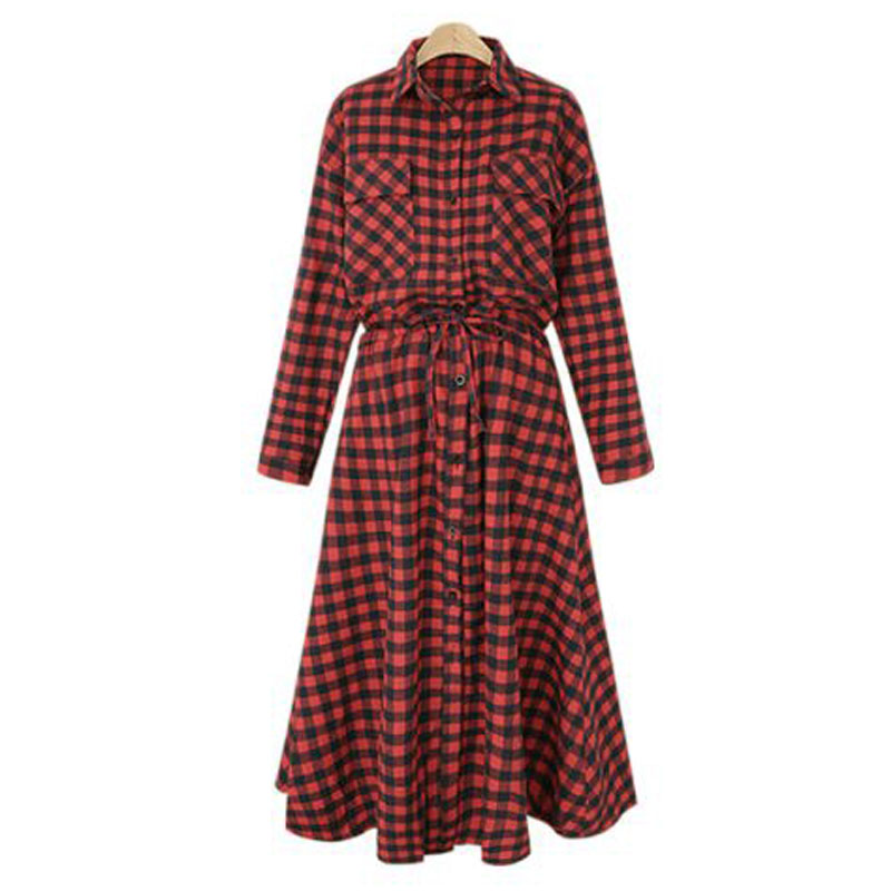 Women-Buttons-Turn-Down-Neck-Check-Lace-Up-Long-Sleeve-A-Line-Maxi-Shirt-Dress