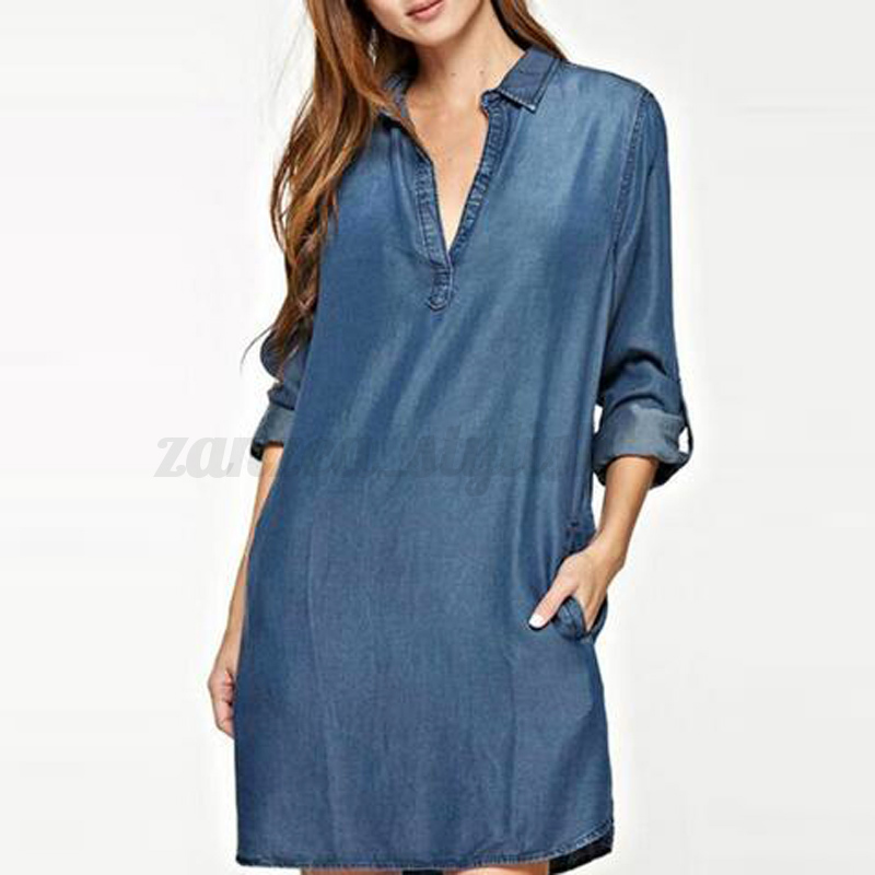836e39581f6 UK 8-24 Zanzea Women Fashion V Neck Long Sleeve Jean Blue Top Shirt ...