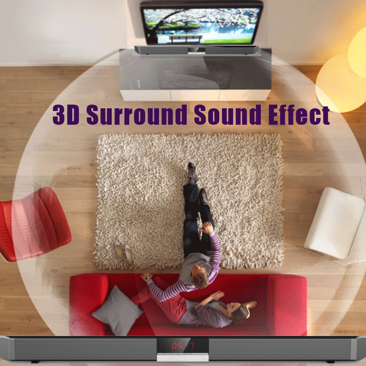 "34"" 40W 4 Drivers HiFi Stereo TV Soundbar Home Theater Speaker & Remote   !"