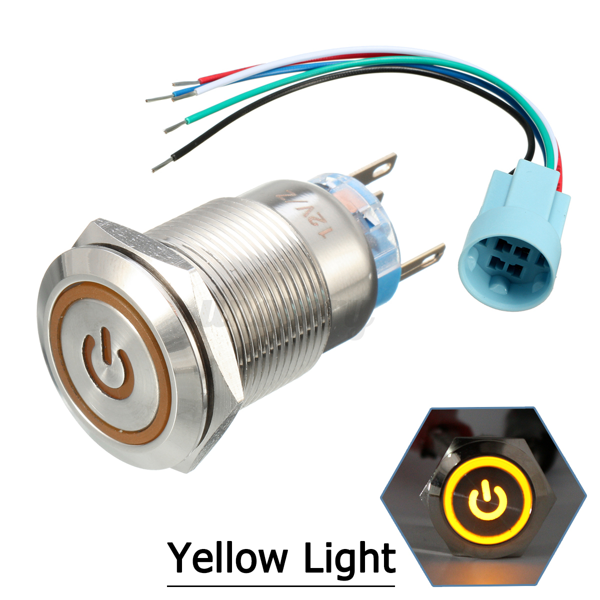 12v 19mm Car Boat Latching Momentary Push Button Switch Led Light Wiring Setup For Blue 22mm Stainless Steel