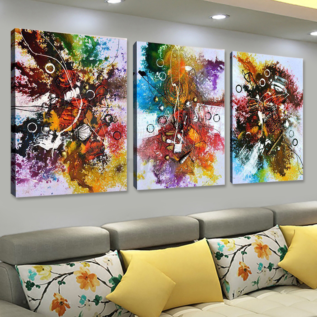 3pcs peinture l 39 huile tableau couleur abstraite art sur toile maison d cor eur 3 79. Black Bedroom Furniture Sets. Home Design Ideas