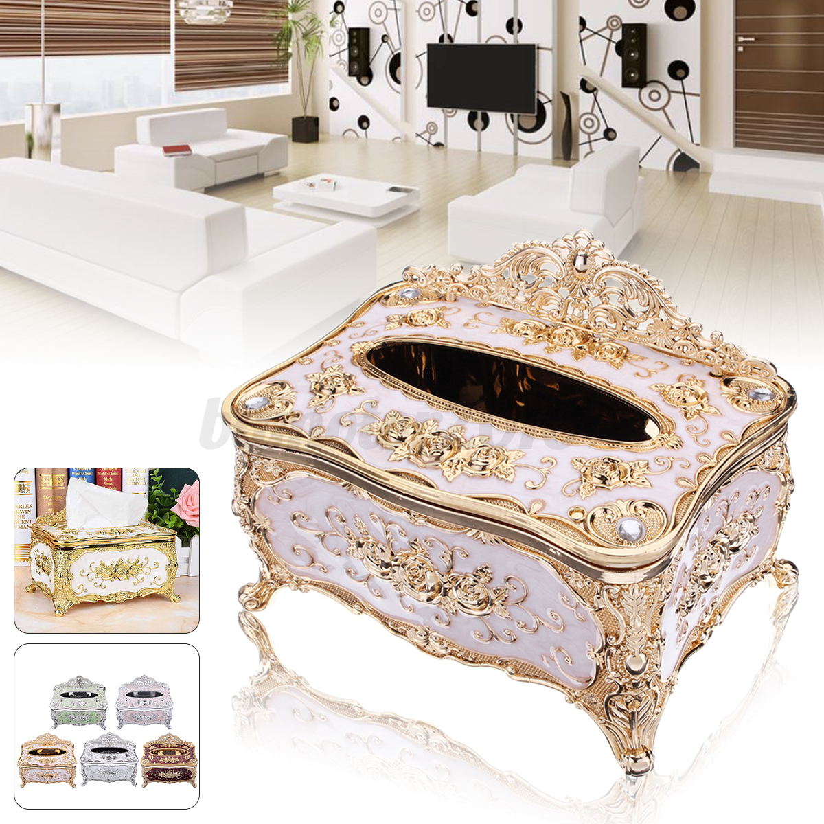 Elegant tissue box napkin holder paper case cover hotel for Hotel home decor