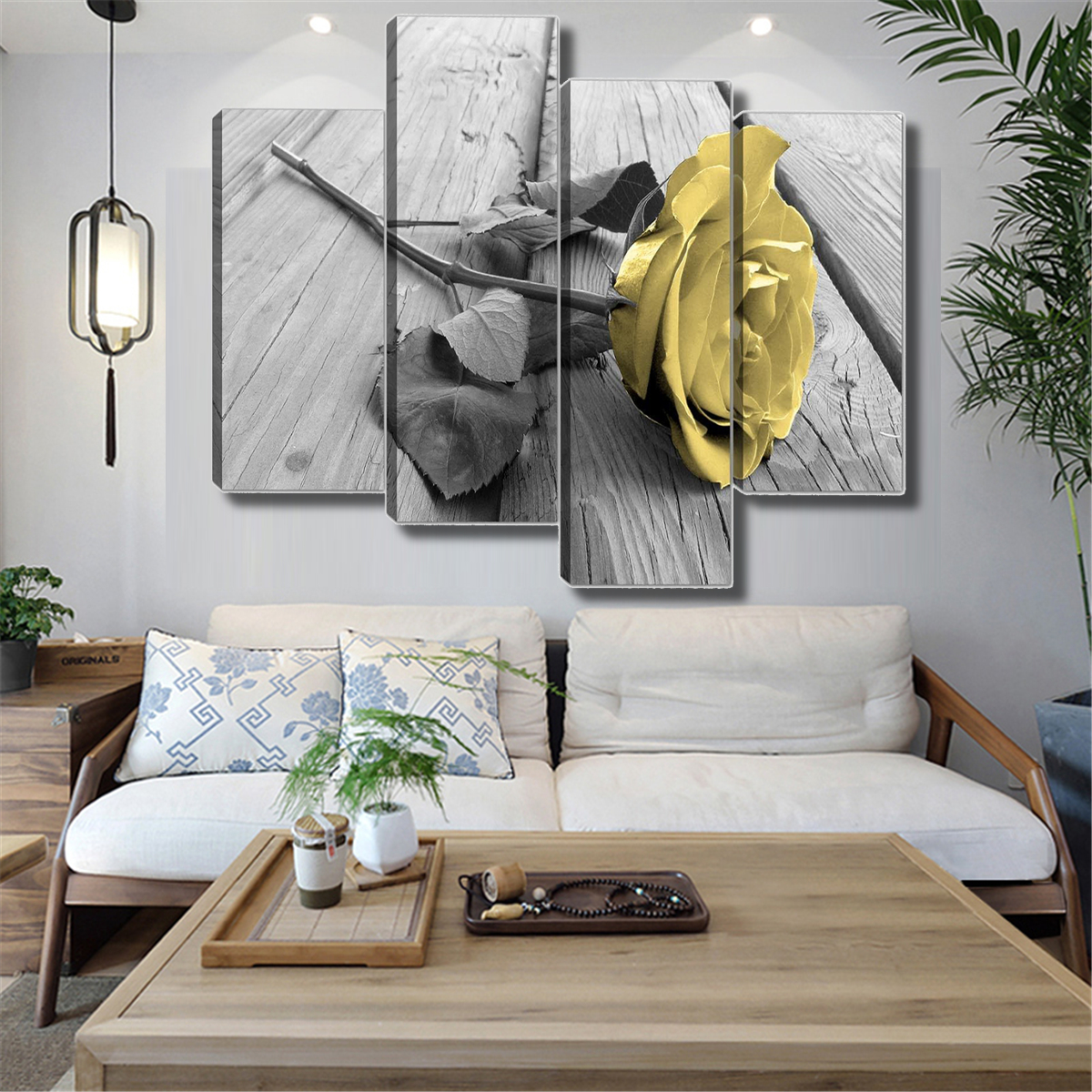 4pcs yellow rose floral canvas print painting picture wall art home rh ebay com
