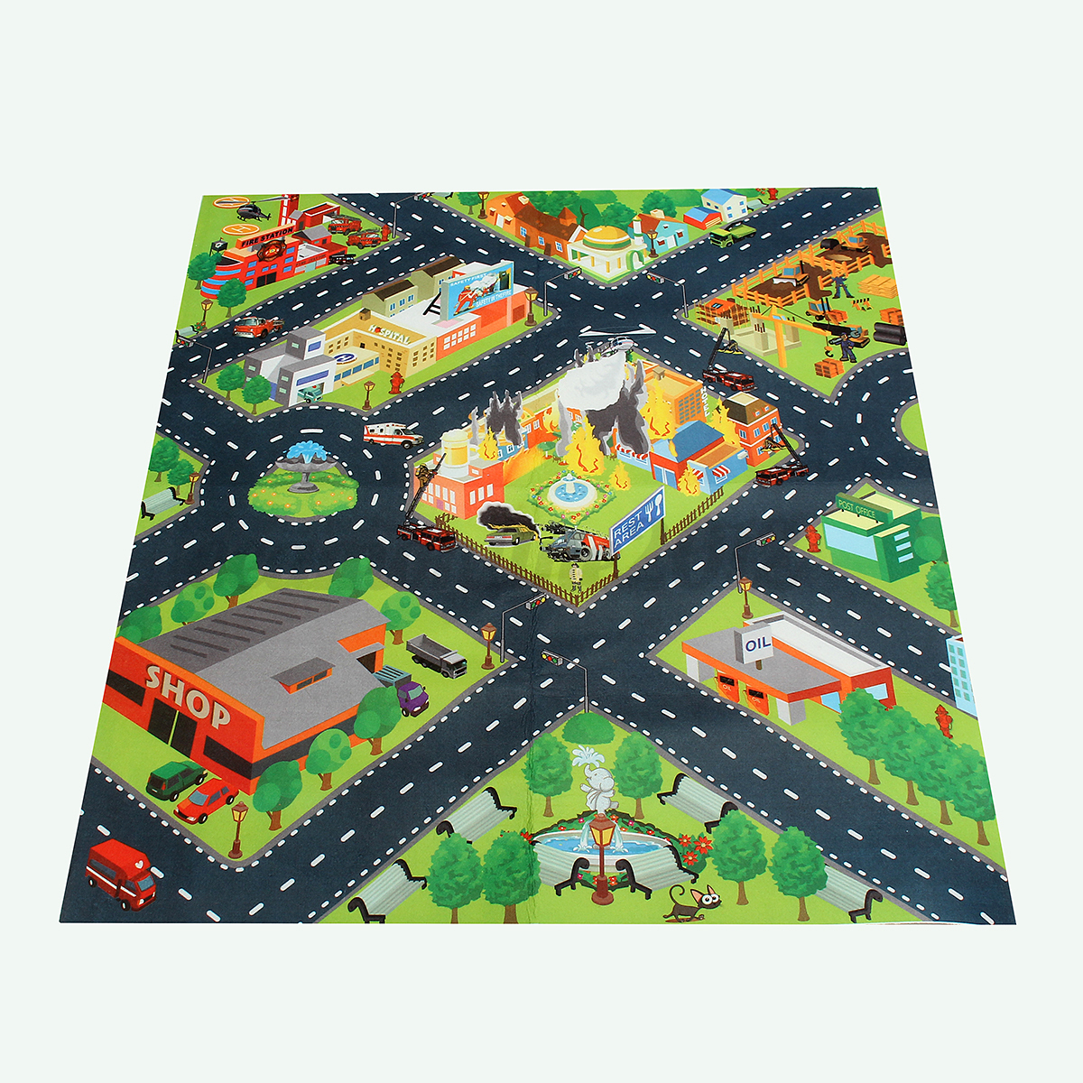 Anti-Slip Kids Children Play Mat City Road Farm Map Floor