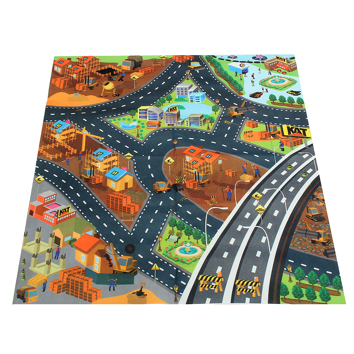 Anti-Slip Kids Children Play Mat City Road Farm Map Floor