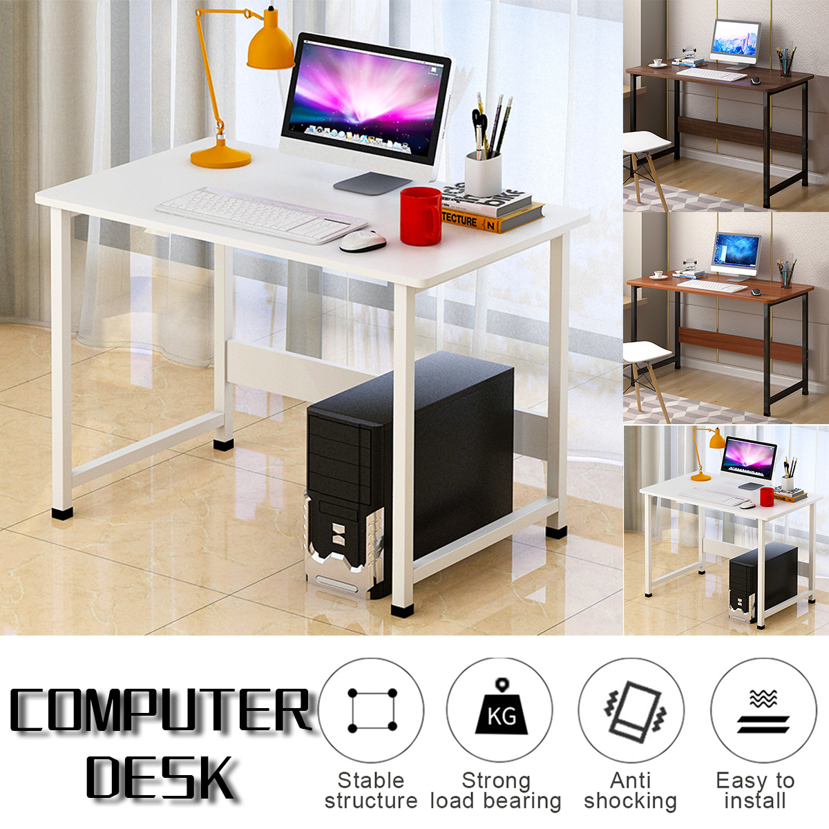 Details about US Wooden Computer Laptop Table Study Desk Home Office  Furniture PC Workstation