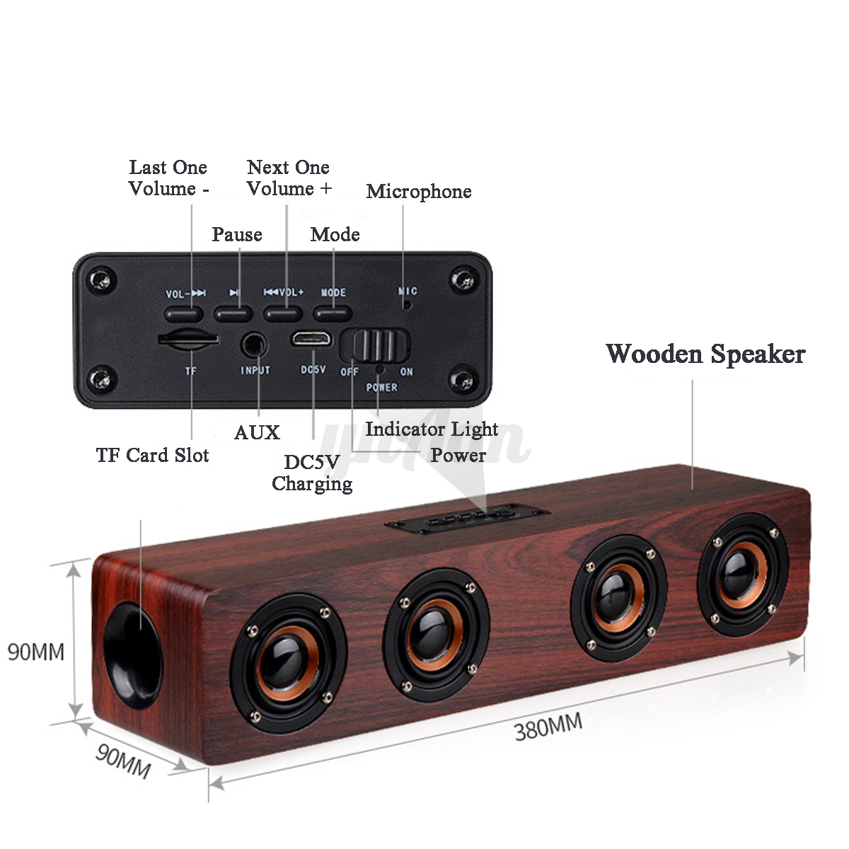 hifi wireless bluetooth 4 0 tv home theater subwoofer 4 speaker soundbar wooden ebay. Black Bedroom Furniture Sets. Home Design Ideas