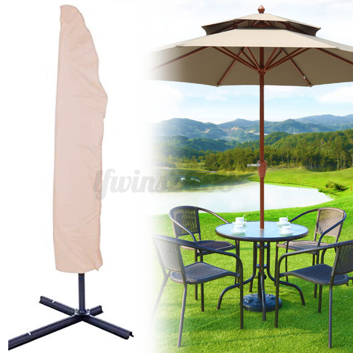 divers banana couvre ext rieur patio parasol housse b che de protection etanche ebay. Black Bedroom Furniture Sets. Home Design Ideas