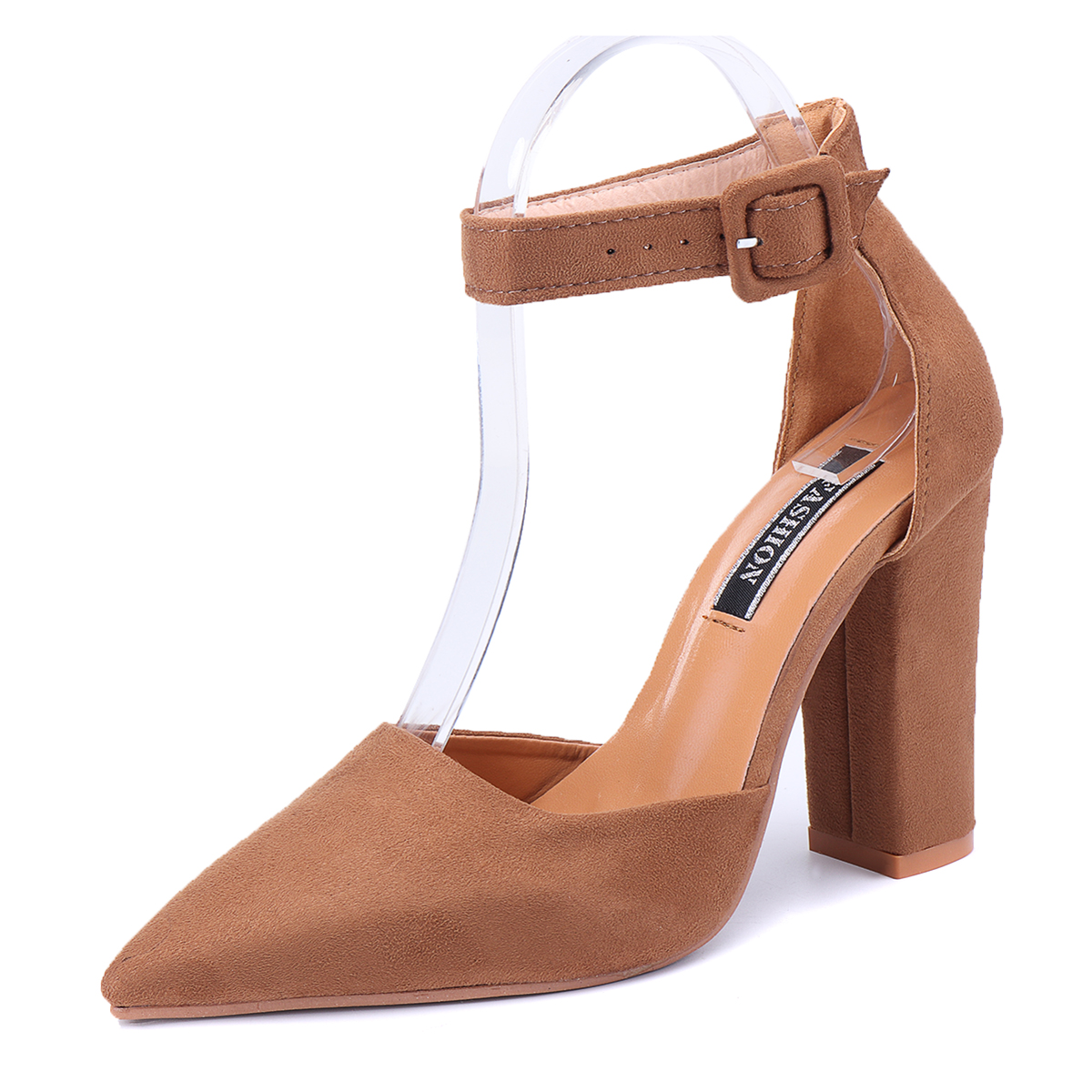 Women-039-s-High-Heels-Block-Toe-Pointed-Ankle-Strap-Sandals-Casual-Buckle-Shoes