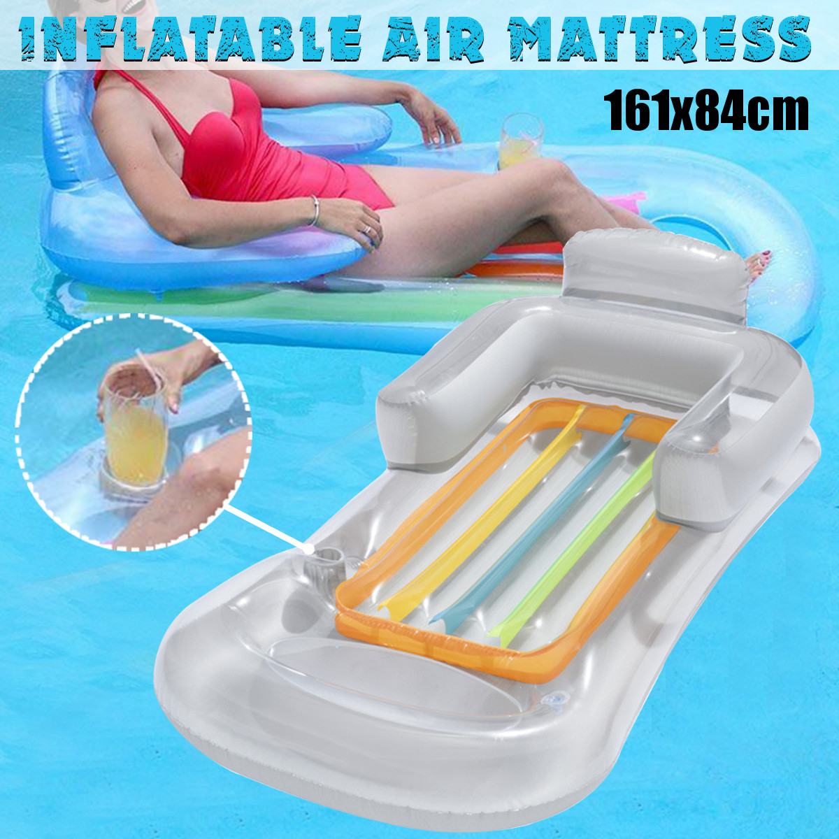 Details about Inflatable Floating Water Hammock Float Mattress Swimming  Pool Lounge Bed Chair