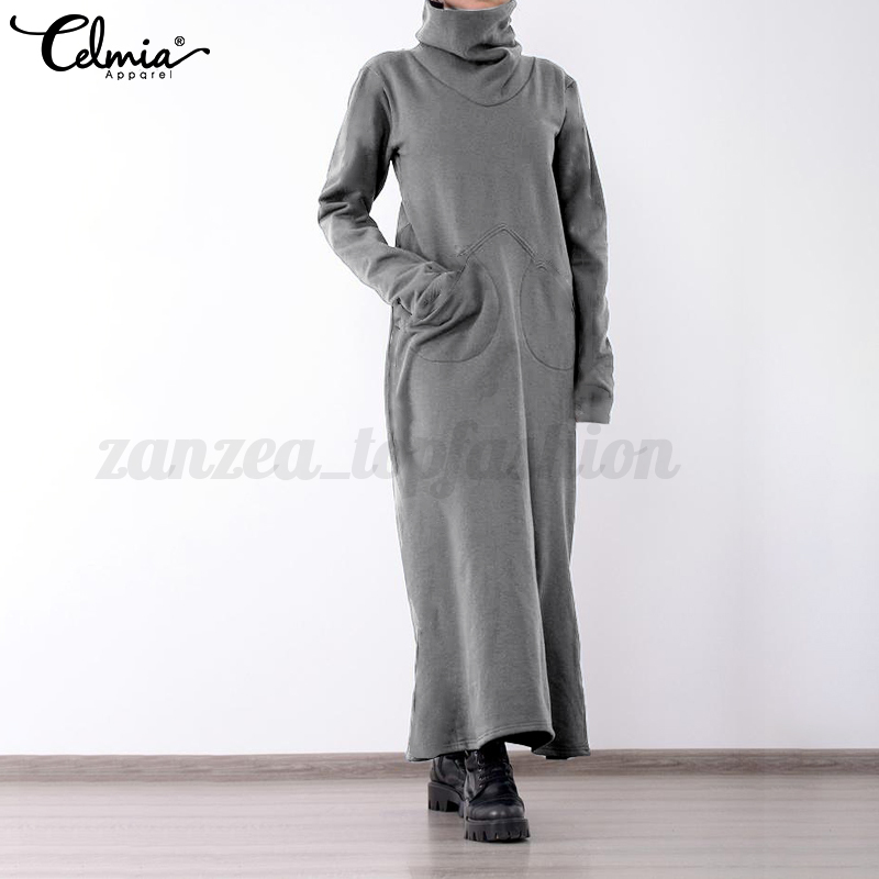 Womens-Long-Sleeve-Cowl-Neck-Loose-Casual-Plus-Size-Sweatshirt-Long-Maxi-Dress thumbnail 12