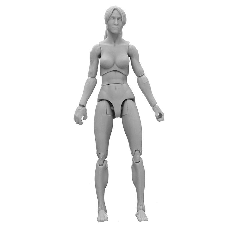 3.75in PVC Female Male Body Joints Action Figure Gray Flesh Luxury Skin Version