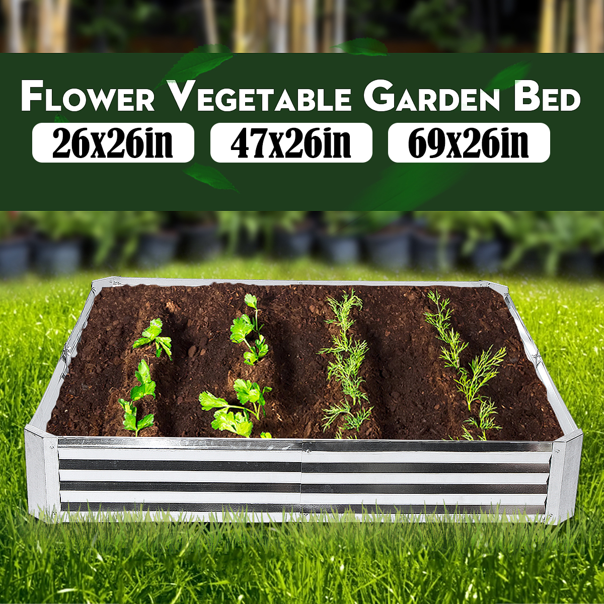 Picture of: Metal Raised Garden Beds Patio Backyard Flower Vegetable Planter Basket Box U Ebay