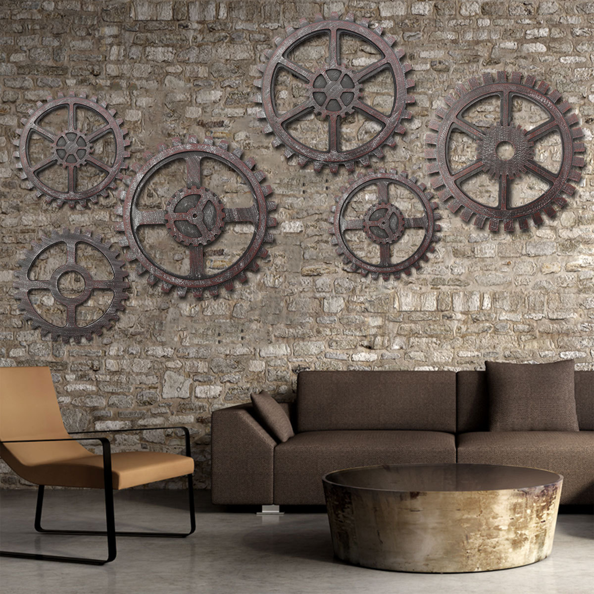 Wooden gear wall art industrial antique vintage chic for Antique wall decor
