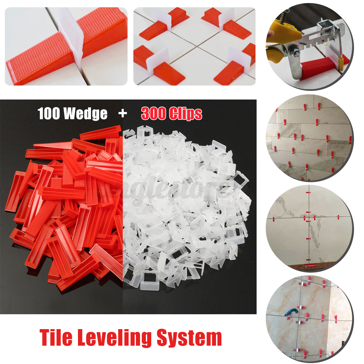 100 1000pc Tile Leveling System Clips Wedges Wall Floor