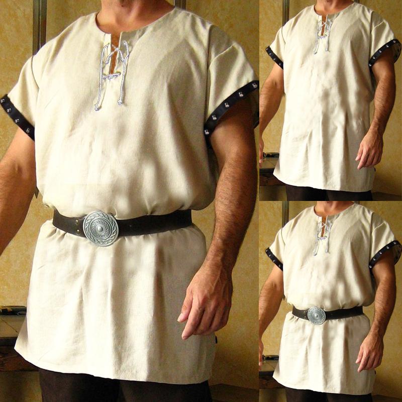 Men Medieval Clothes Baggy Kaftan Shirts Viking Knight Dress
