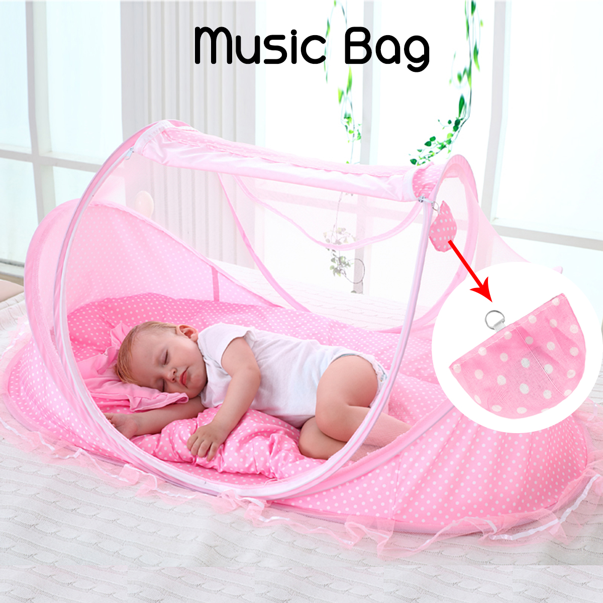 Baby Infant Portable Foldable Bed Crib Canopy Mosquito Net