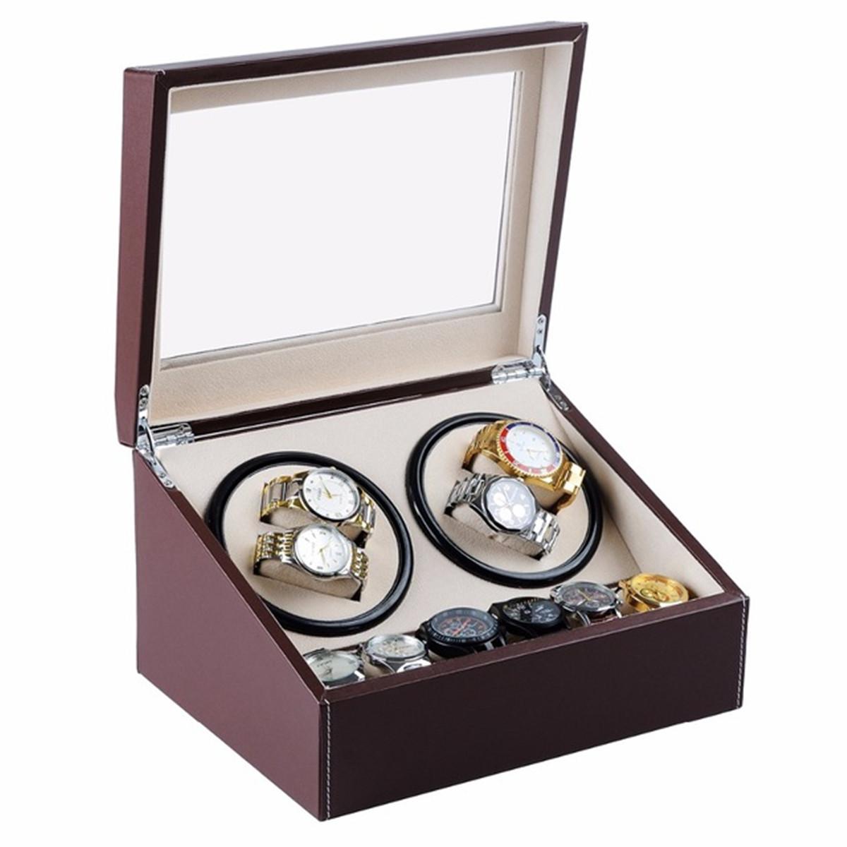Luxury pu leather automatic 4 6 watch winder rotator for 4 box auto