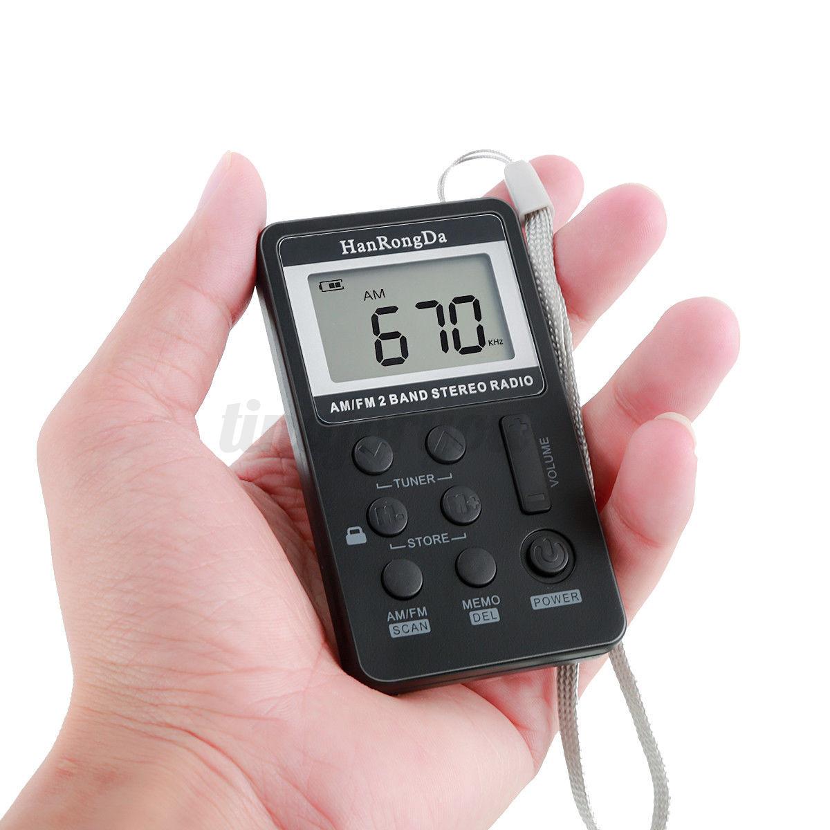 mini portable digital lcd fm am 2 band stereo radio pocket. Black Bedroom Furniture Sets. Home Design Ideas