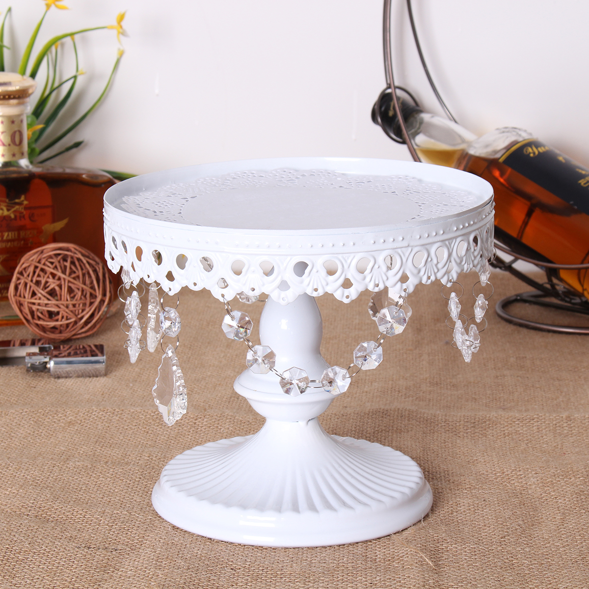 12pcs Set White Gold Crystal Metal Round Cake Stand Holder