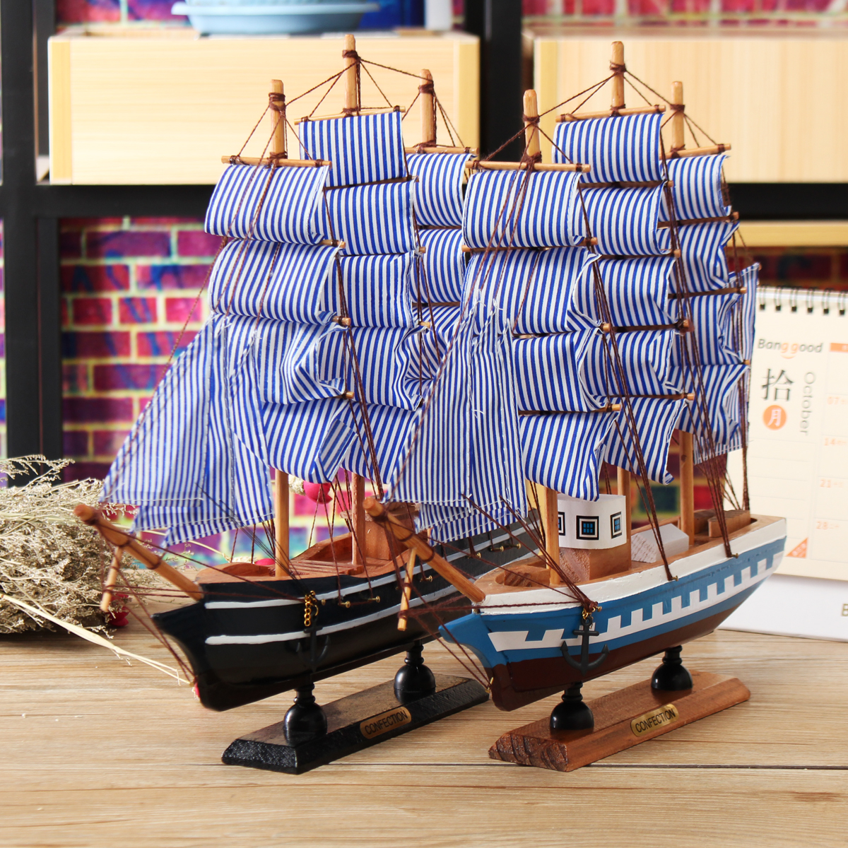 Handmade 3d pine wooden sailing boat craft ship model home for Ship decor home
