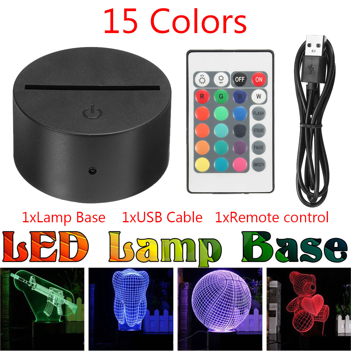LED ABS Acrylic Black 3D Lamp Night Light Base USB Cable Remote Control CN