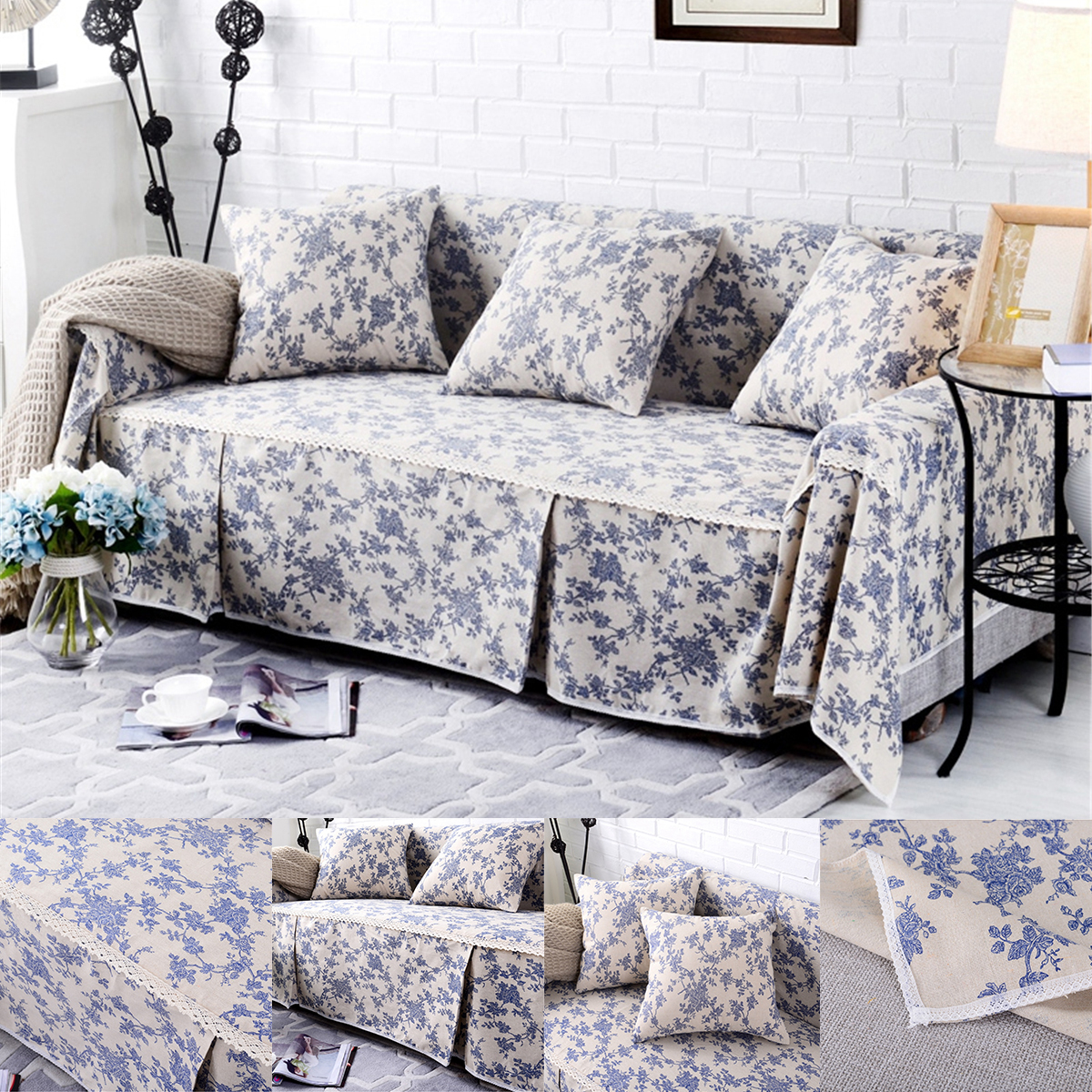 Details about 1 2 3 Seater Sofa Cover Cotton Linen Furniture Protector  Couch Towel