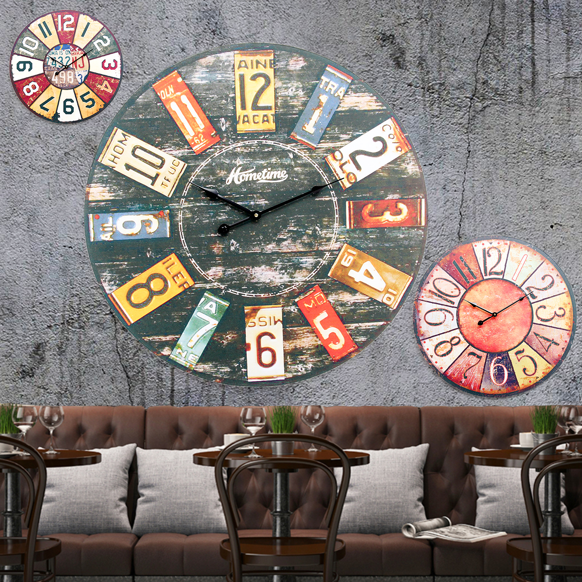 58cm 23'' Extra Large Wooden Wall Clock Ancient Modern Lacquer Surface Art Decor