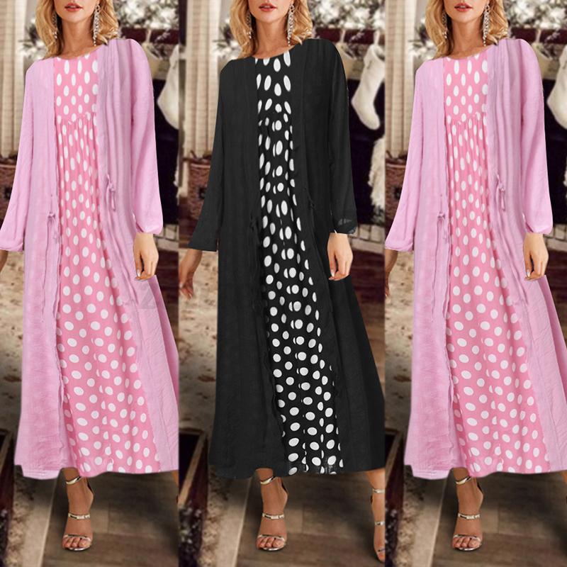 Mode-Femme-Robe-Deux-piece-Manche-Longue-Pois-Confor-Loisir-Party-Dresse-Plus