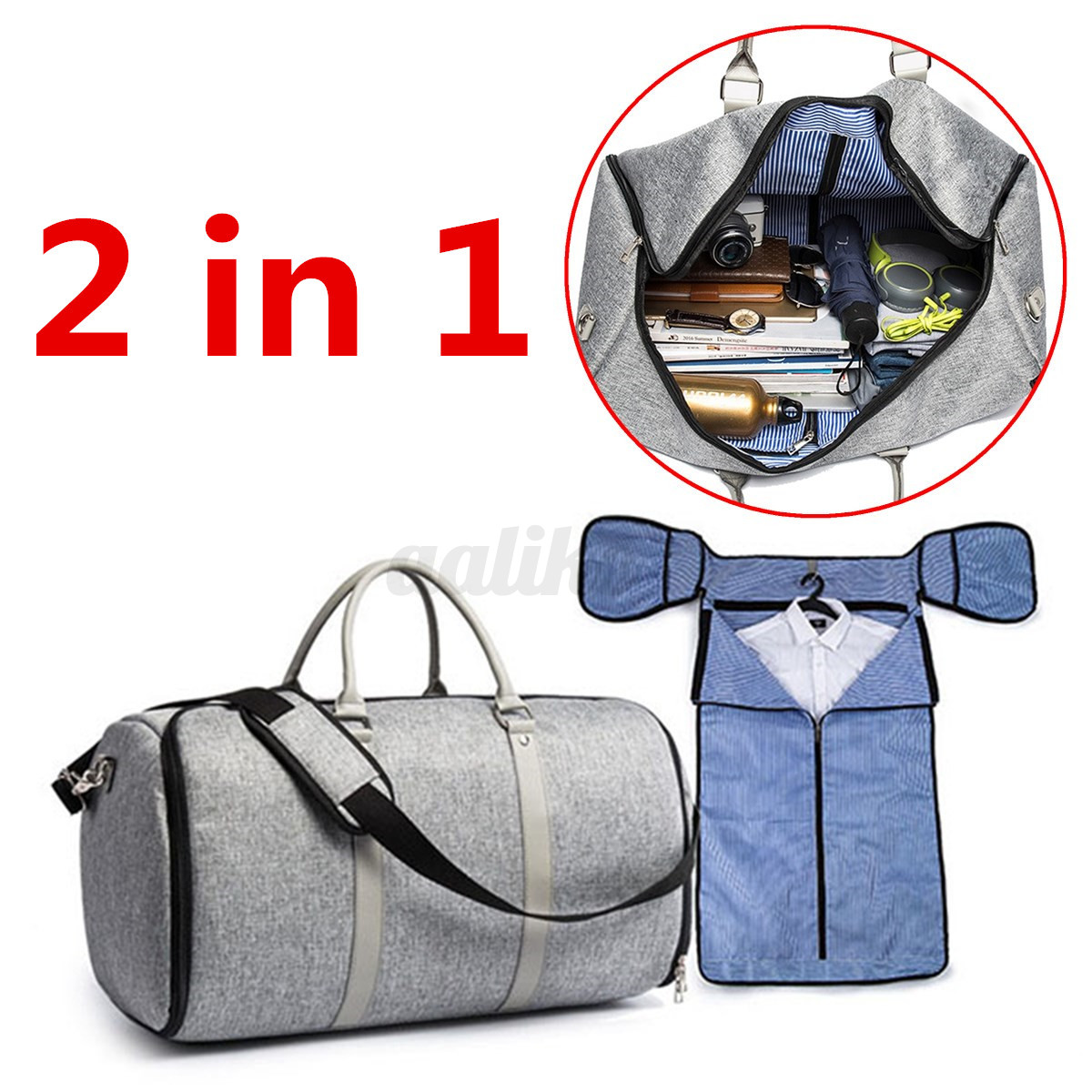 1070d49f8492 2 in 1 Carry-on Garment Business Suit Flight Travel Duffel Gym Sport ...