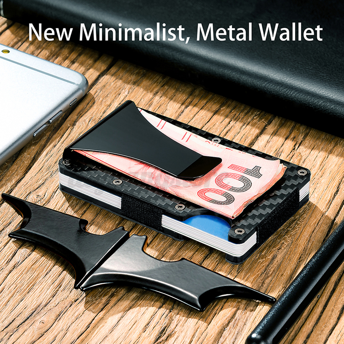 Slim Carbon Fiber Credit Card Holder Rfid Non Scan Metal Wallet