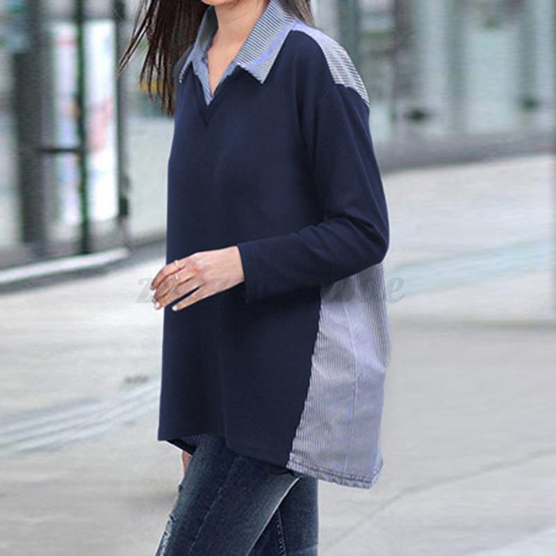 Mode-Femme-Chemise-Couture-Manche-Longue-Personnalite-Confor-Tops-Haut-Plus miniature 6