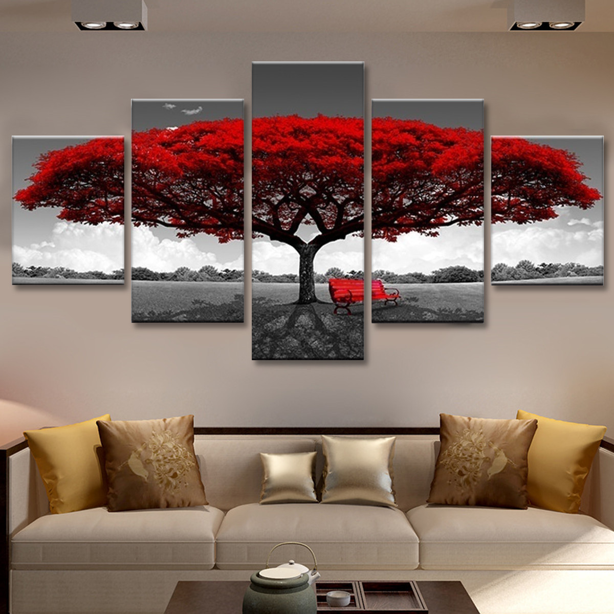 Unframed Modern Red Tree Art Oil Canvas Painting Picture Print Home Wall Decor u
