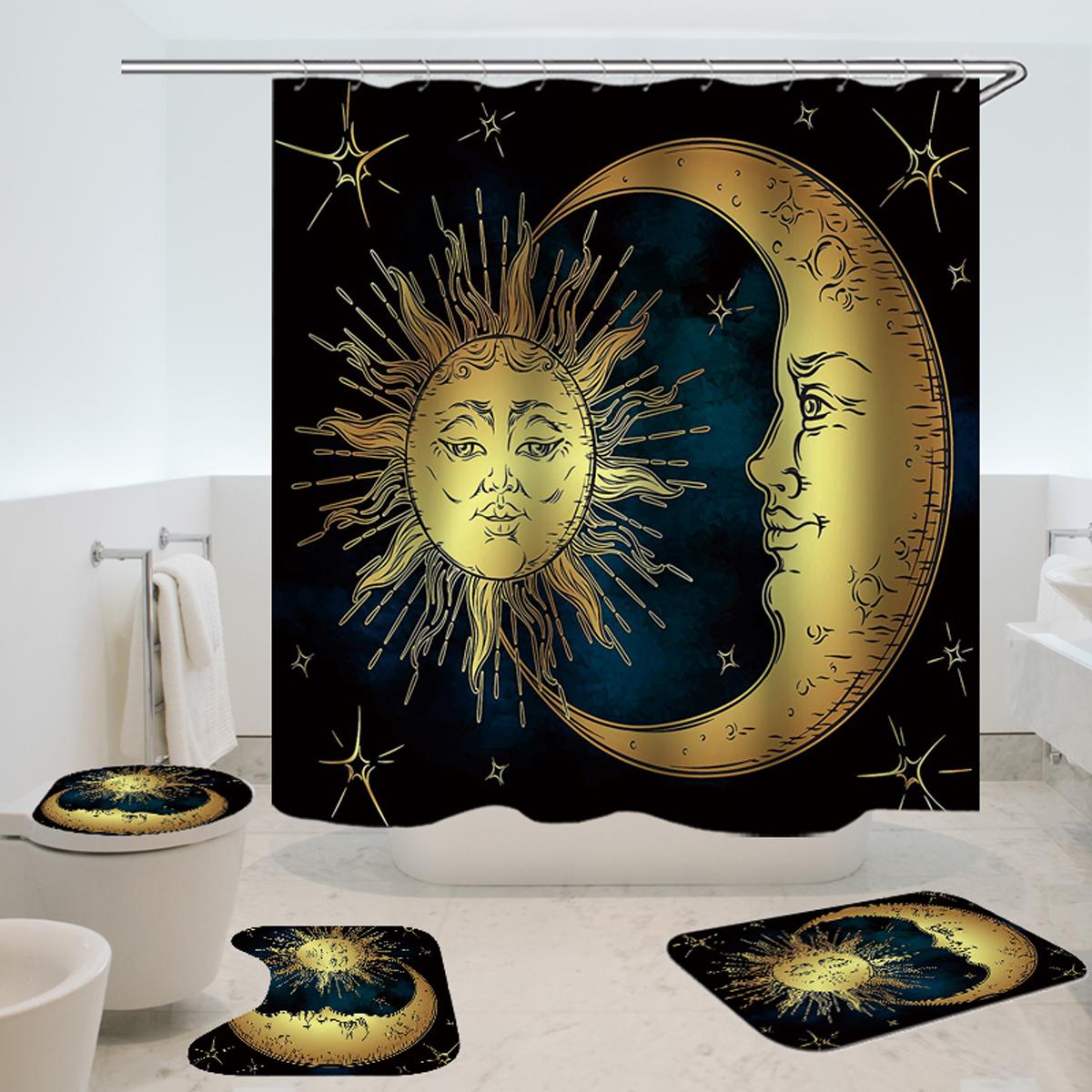 Details About 180x180cm Sun God Bathroom Shower Curtain Toliet Mat Waterproof With 12 Hooks