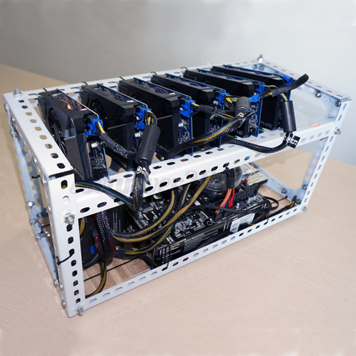 Steel Crypto Coin Open Air Mining Frame Rig Case Up To 6