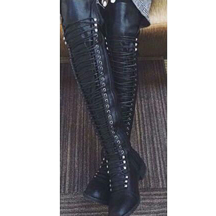 los angeles good quality more photos Women Lace Up Bandage Over the Knee Boots Thigh High Combat ...