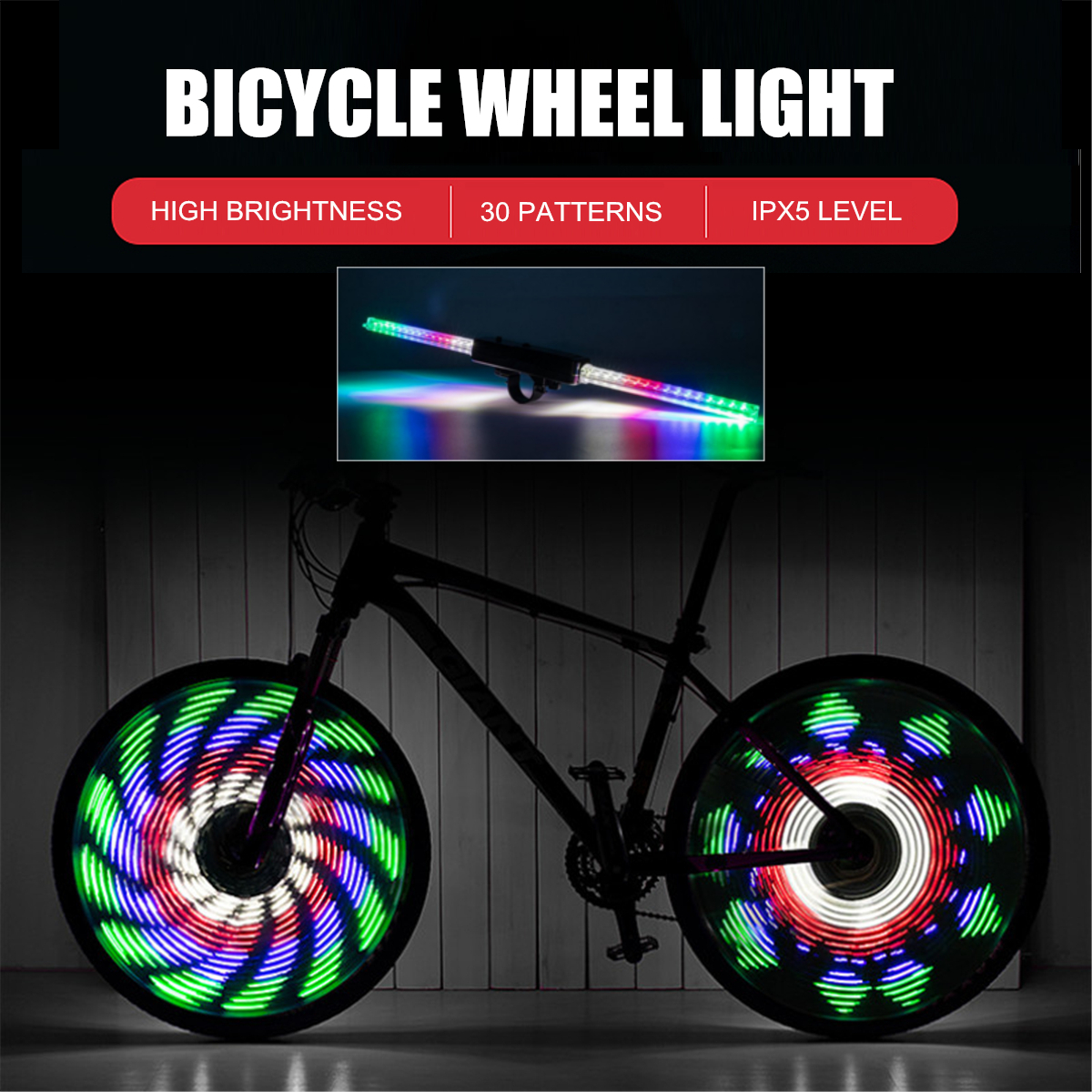 30 Pattern LED Colorful Lamp Bicycle Wheel Bike Tire Flash Spoke Signal Light