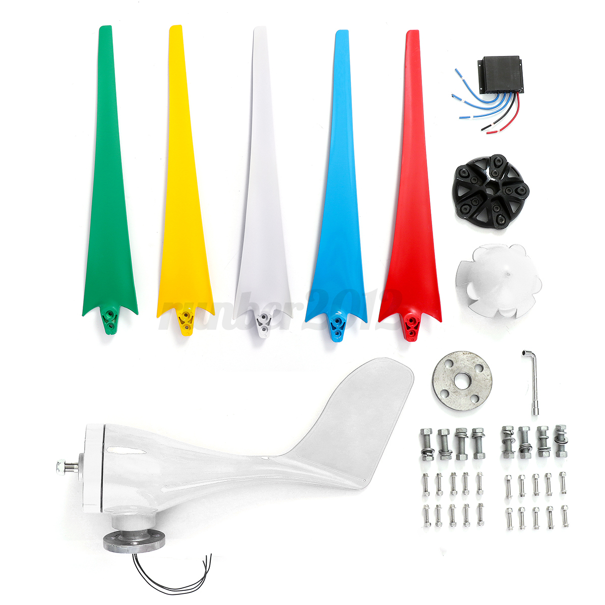4000W-5-Blades-12V-24-48V-Colorful-Wind-Turbine-Generator-Charge miniature 14