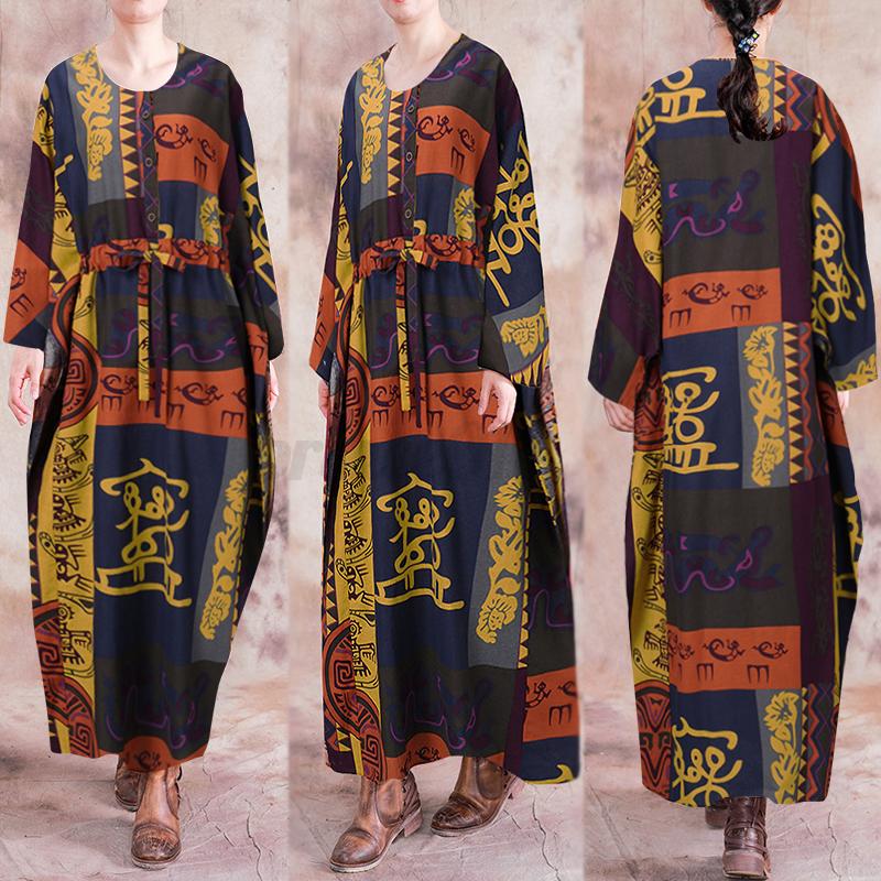 ZANZEA-Femme-Robe-Imprime-Floral-Col-Rond-Simple-Ample-Manche-Longue-Dresse-Plus