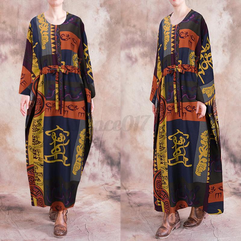 ZANZEA-Femme-Robe-Imprime-Floral-Col-Rond-Simple-Ample-Manche-Longue-Dresse-Plus miniature 2