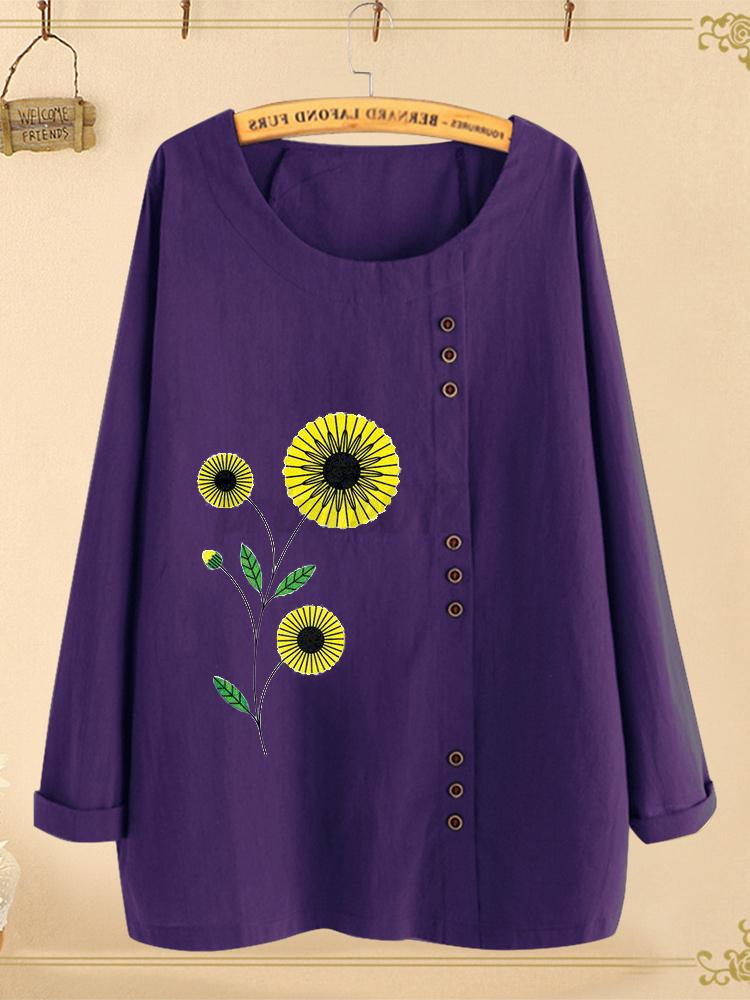 miniature 5 - Belle-Femme-Shirt-Haut-Floral-Manche-Longue-Col-Rond-Coton-Quotidienne-Tops-Plus