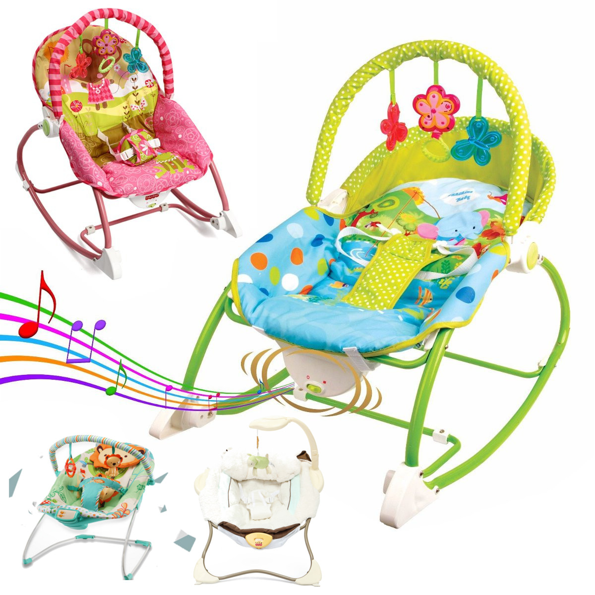 Baby Bouncer Infant Toy Exerciser Entertainer Portable Swing Chair Rocker Seat