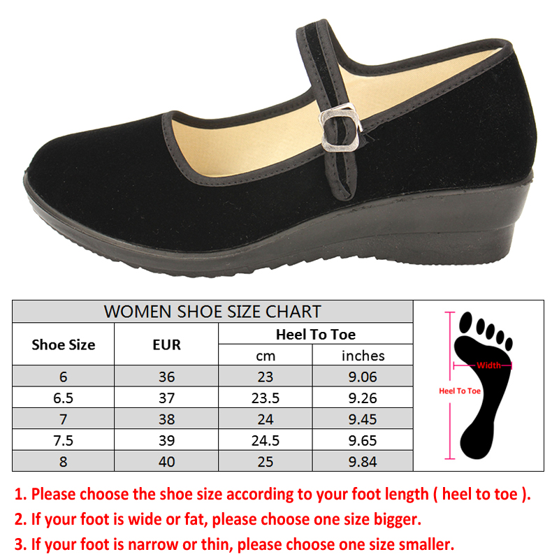 Women-039-s-Mid-Wedge-Heel-Mary-Jane-Hotel-Work-Strap-Ballet-Cotton-Buckle-Shoes thumbnail 7