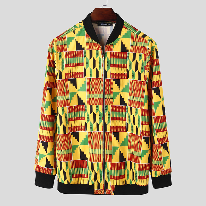 Mens African Floral Printed Long Sleeve Cardigan Jackets Party Hippie Coats Tops