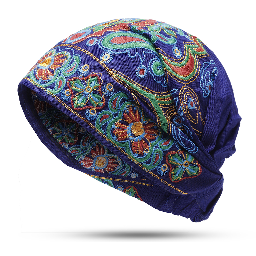 209656440e9 Womens Embroidery Ethnic Cotton Beanie Hat Vintage Elastic ...
