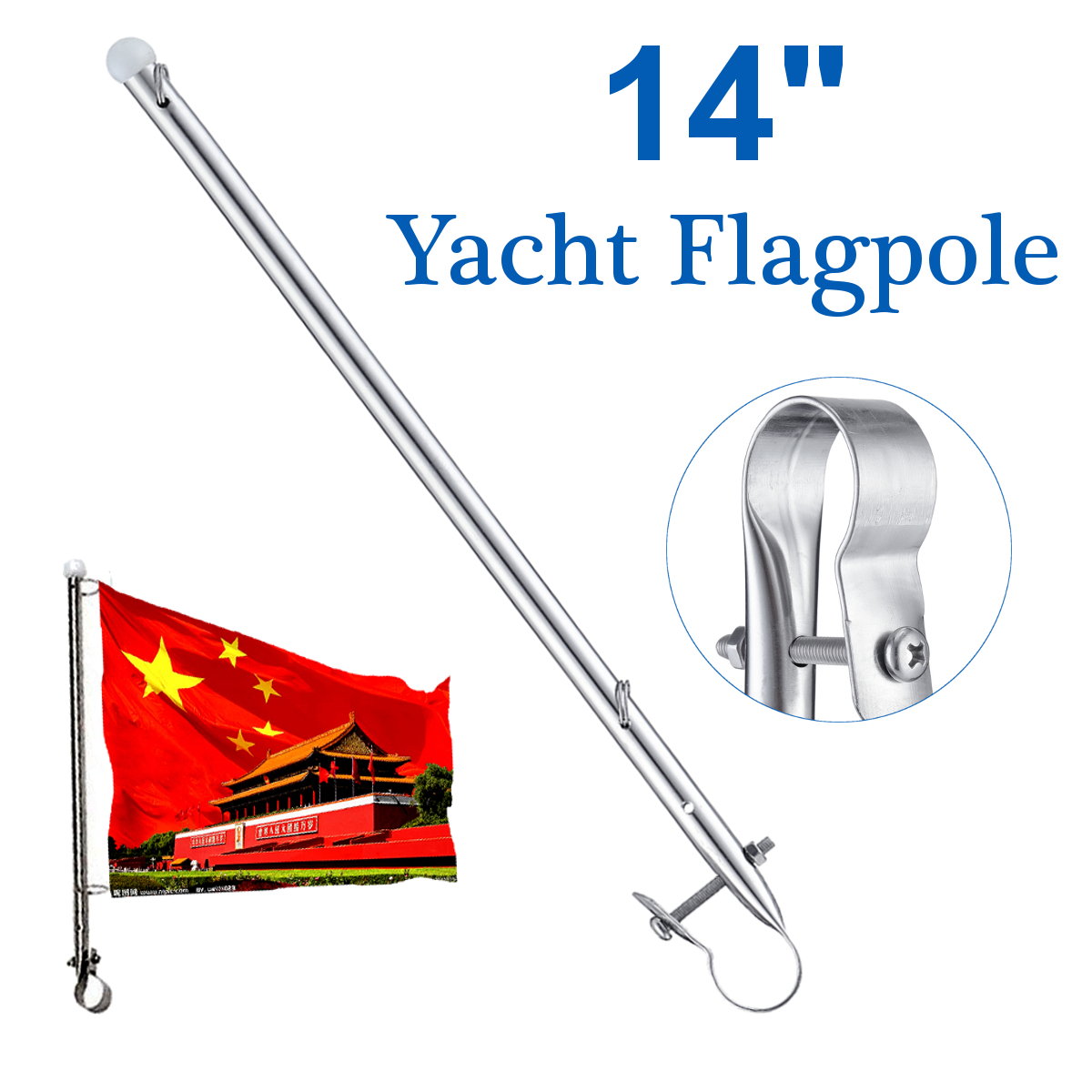 Rail Clamp Flag Staff Pole 14/'/' Stainless Steel For Boat Marine Yacht Flagpole