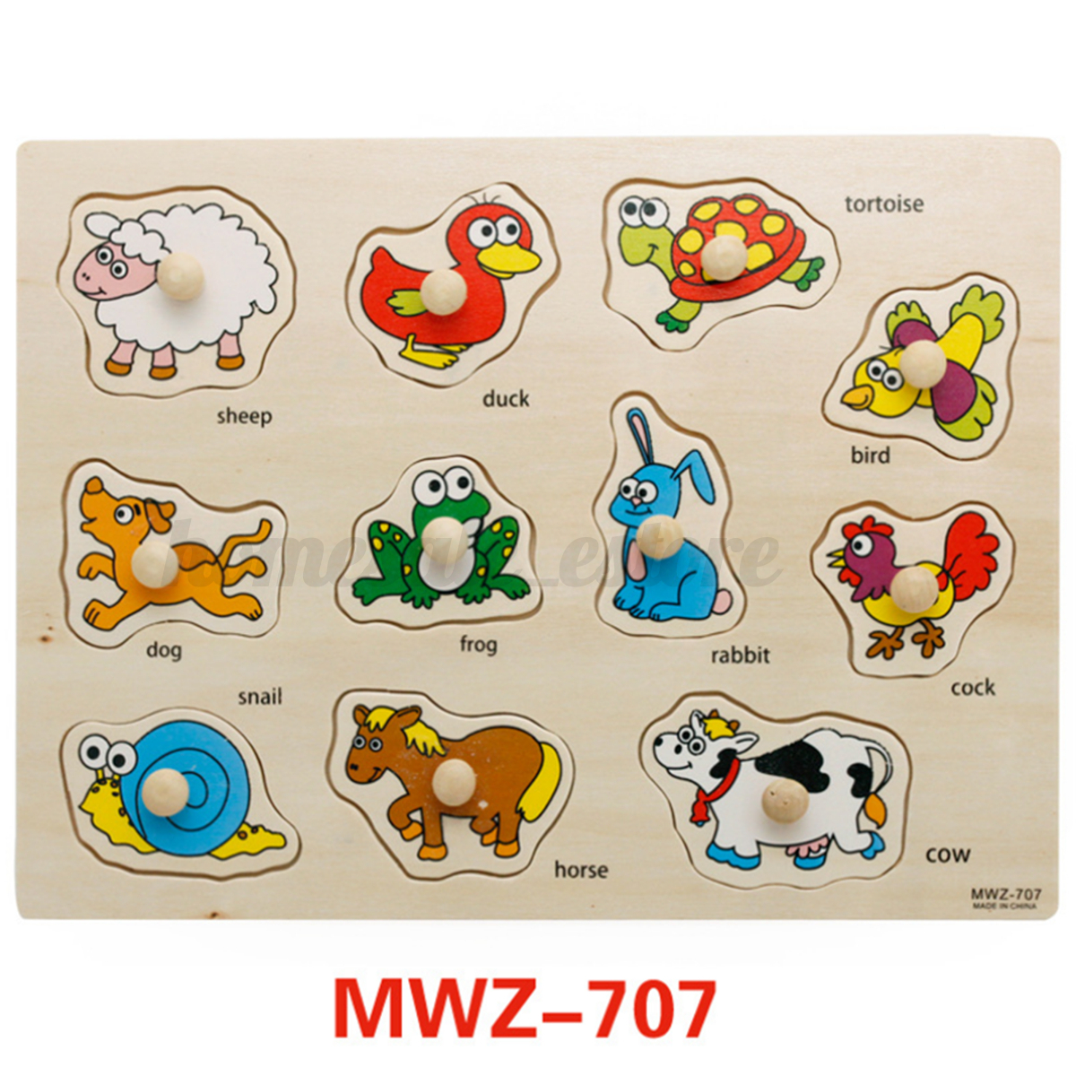 Baby Toddler Wooden Puzzle Alphabet Letters Animal Fruit ...